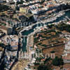 GW05660-32 = Aerial view of the City of Ciutadella (formerly Ciudadella) with horsemen on the beach during the Fiesta of San Juan (famous equine activities), Menorca, Baleares, Spain. 1999.