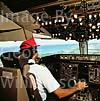 GW01206-32 = Puerto Plata airport, Santa Dominica ahead, flight deck scene on Spanair Boeing 767 aircraft.