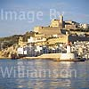 GW11310 = View over the harbour entrance towards the harbour wall and historic Ibiza Town (Cathedral of Our Lady of the Snows + fortifications), Ibiza, Balearic Islands, Spain. 1996.