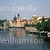 GW01680 = Charles Bridge over R. Vltava and the old town. Prague, Czech Repulic. Aug 1995.