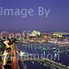 GW03800 = Evening view of Paseo Maritimo, Real Club Nautico de Palma and Cathedral, Palma de Mallorca, Baleares, Spain. 1997.