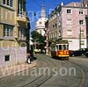 GW03140 = Traditional Tram with Estrela Basilica behind, Lisbon, Portugal. Sep 1997.