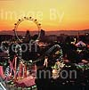 GW01550 = The famous Ferris Wheel and the Prater Funfair at sunset. Vienna, Austria. Aug 1995.