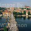 GW01610 = View of the little quarter Hradcany and Prague Castle over Charles bridge from old town bridge tower. Prague, Czech Repulic. Aug 1995.