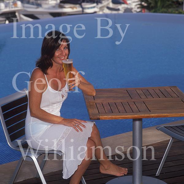 GW30250-60 = Scene at Cala D'Or Yacht Club - enjoying an ice cool